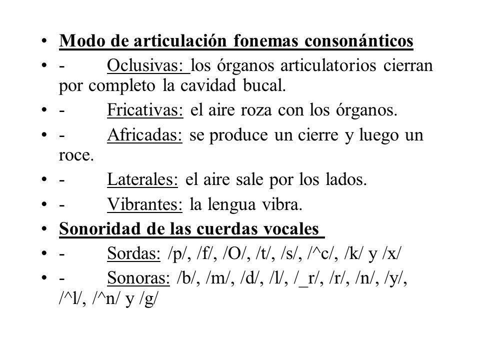 Modo de articulación fonemas consonánticos - Oclusivas: los órganos articulatorios cierran por completo la cavidad bucal. - Fricativas: el aire roza c
