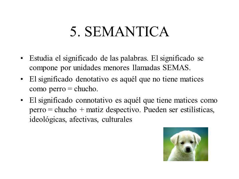 5. SEMANTICA Estudia el significado de las palabras. El significado se compone por unidades menores llamadas SEMAS. El significado denotativo es aquél