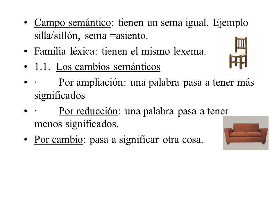 Campo semántico: tienen un sema igual. Ejemplo silla/sillón, sema =asiento. Familia léxica: tienen el mismo lexema. 1.1. Los cambios semánticos · Por