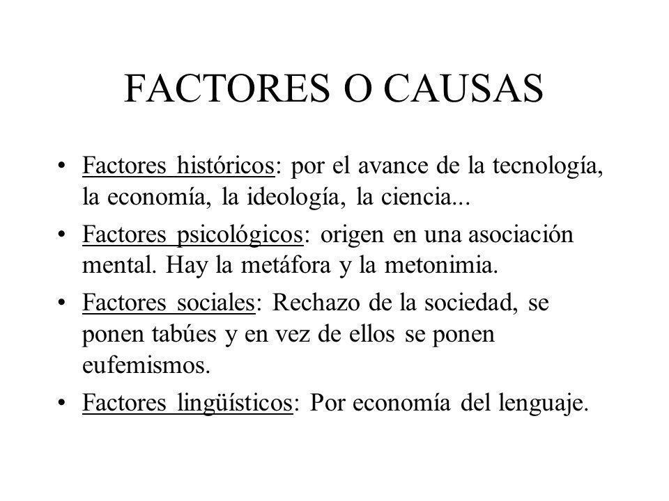 FACTORES O CAUSAS Factores históricos: por el avance de la tecnología, la economía, la ideología, la ciencia... Factores psicológicos: origen en una a