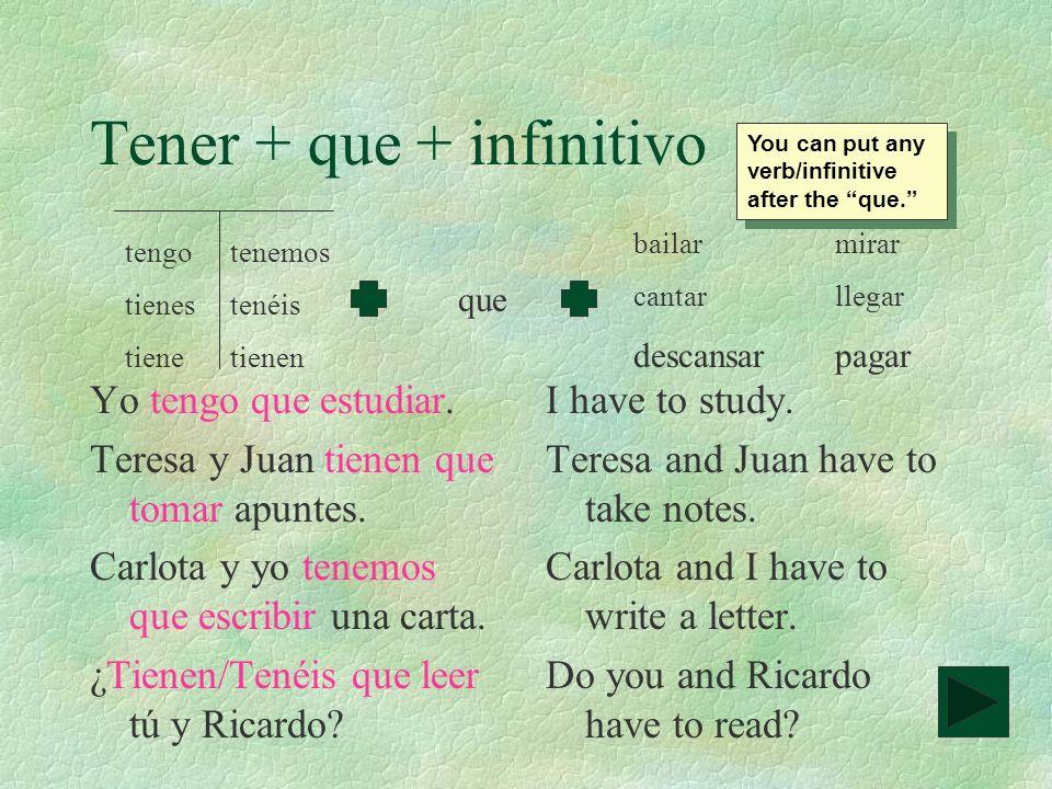 Práctica con tener + que +infinitivo 1.Yo _____________ mi libro.(to read) 2.