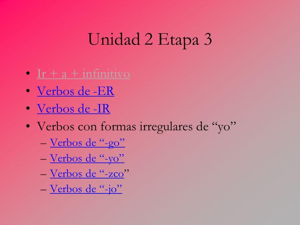 Unidad 2 Etapa 3 Ir + a + infinitivo Verbos de -ER Verbos de -IR Verbos con formas irregulares de yo –Verbos de -goVerbos de -go –Verbos de -yoVerbos