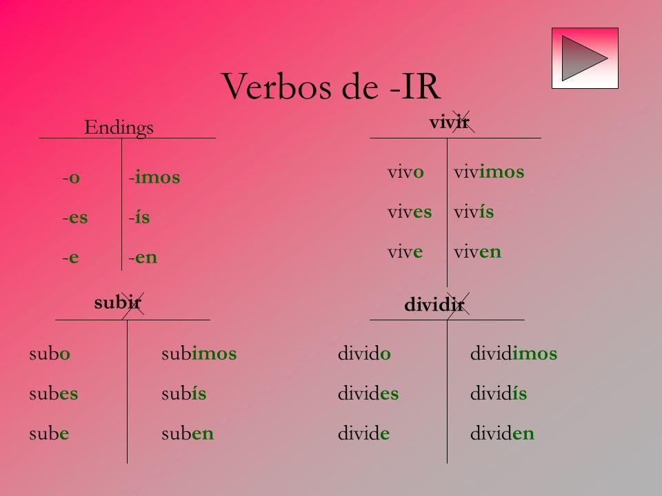 Verbos de -IR -o-imos -es-ís -e-en Endings vivir vivovivimos vivesvivís viveviven subir dividir subosubimos subessubís subesuben dividodividimos divid