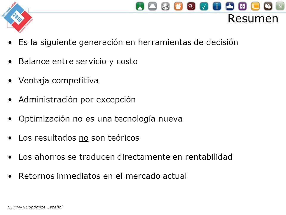 Resumen Es la siguiente generación en herramientas de decisión Balance entre servicio y costo Ventaja competitiva Administración por excepción Optimiz