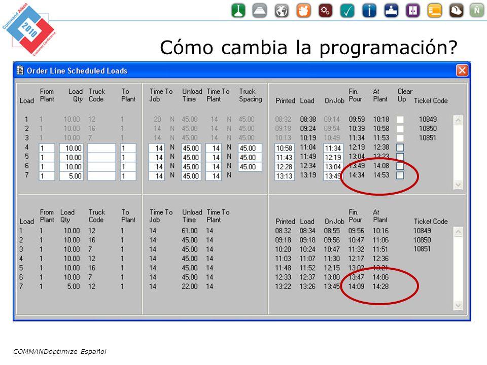 Cómo cambia la programación COMMANDoptimize Español