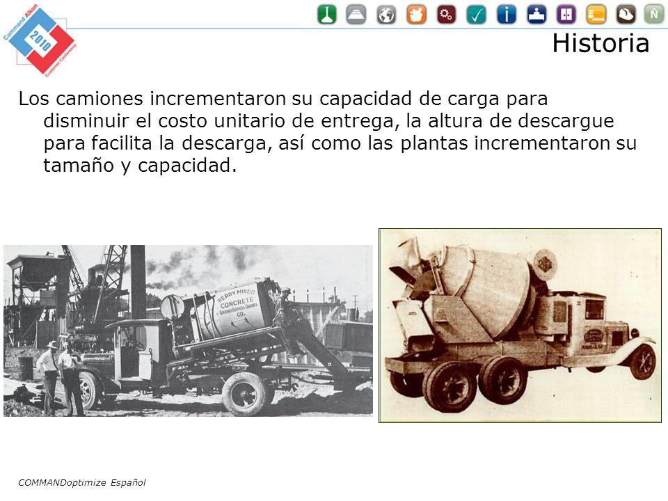 Historia Los camiones incrementaron su capacidad de carga para disminuir el costo unitario de entrega, la altura de descargue para facilita la descarga, así como las plantas incrementaron su tamaño y capacidad.