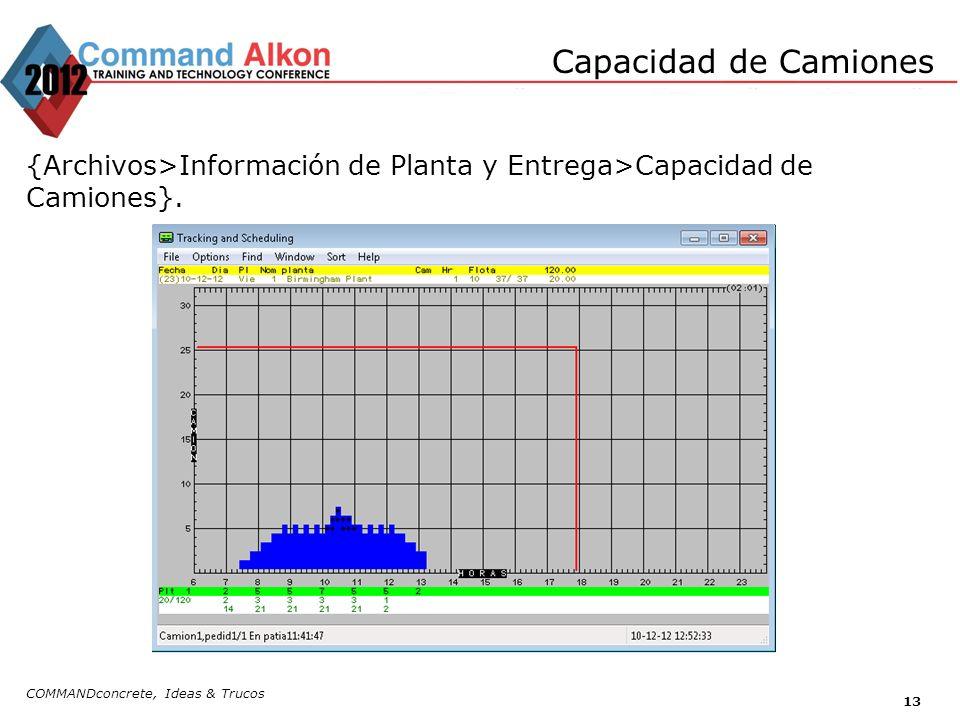 Capacidad de Camiones {Archivos>Información de Planta y Entrega>Capacidad de Camiones}.