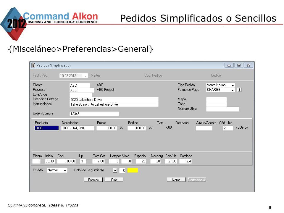 Configuración de Pedidos Repetitivos COMMANDconcrete, Ideas & Trucos 9