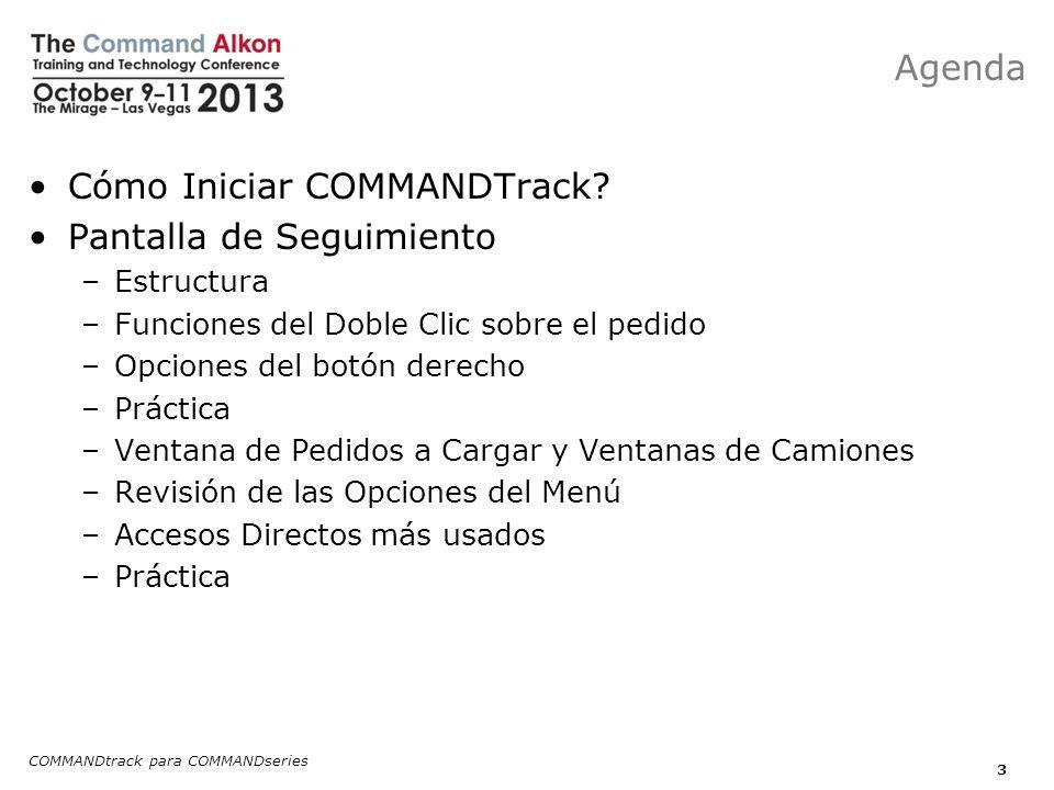COMMANDtrack para COMMANDseries 4 Pantalla de Programación –Estructura –Opciones de clic derecho –Práctica –Modelación de pedidos.