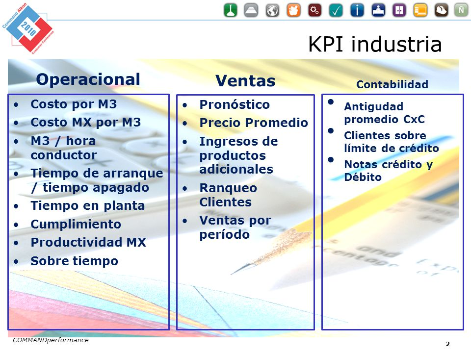 KPI industria Operacional Costo por M3 Costo MX por M3 M3 / hora conductor Tiempo de arranque / tiempo apagado Tiempo en planta Cumplimiento Productividad MX Sobre tiempo Ventas Pronóstico Precio Promedio Ingresos de productos adicionales Ranqueo Clientes Ventas por período COMMANDperformance 3 Contabilidad Antigudad promedio CxC Clientes sobre límite de crédito Notas crédito y Débito