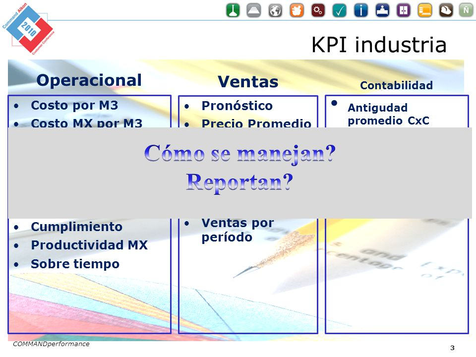 KPI industria Operacional Costo por M3 Costo MX por M3 M3 / hora conductor Tiempo de arranque / tiempo apagado Tiempo en planta Cumplimiento Productiv