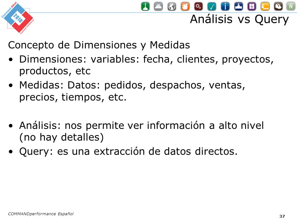 Análisis vs Query Concepto de Dimensiones y Medidas Dimensiones: variables: fecha, clientes, proyectos, productos, etc Medidas: Datos: pedidos, despac