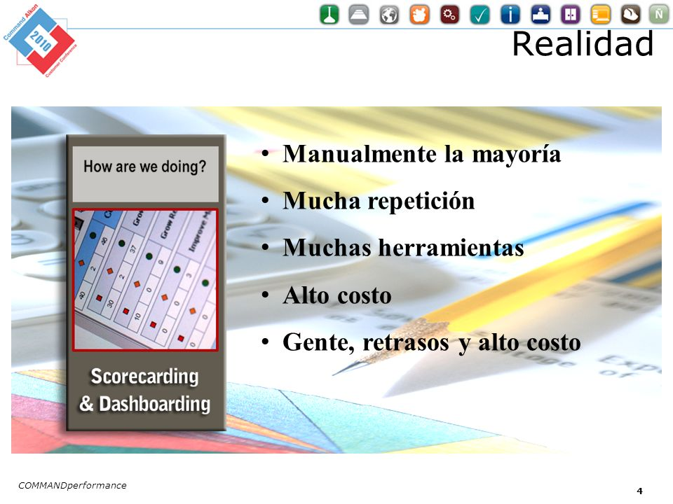 Realidad COMMANDperformance 4 Manualmente la mayoría Mucha repetición Muchas herramientas Alto costo Gente, retrasos y alto costo
