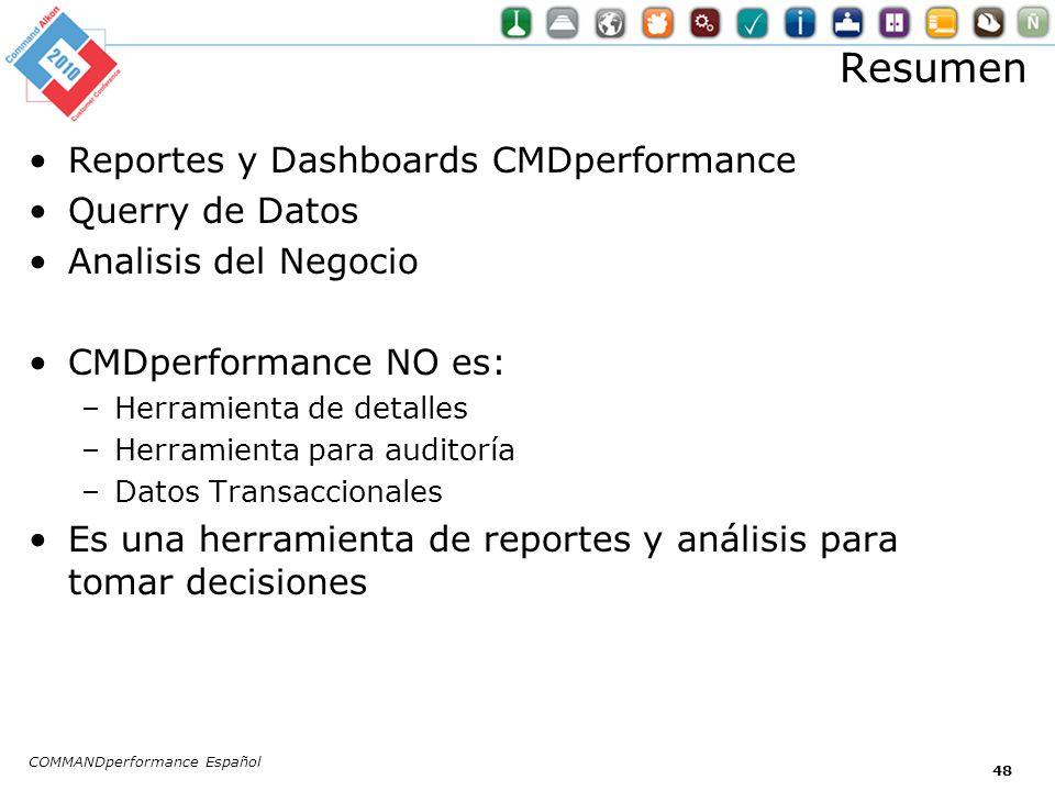 Resumen Reportes y Dashboards CMDperformance Querry de Datos Analisis del Negocio CMDperformance NO es: –Herramienta de detalles –Herramienta para aud