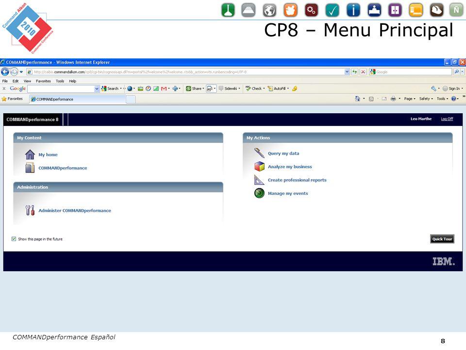 COMMANDperformance Español 8 CP8 – Menu Principal