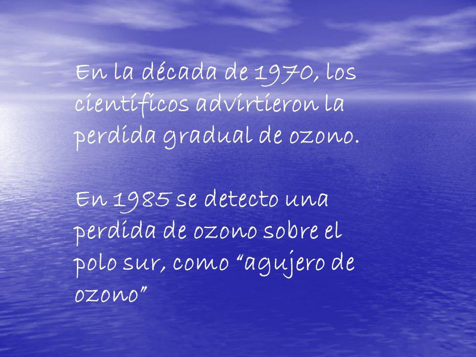 En la década de 1970, los científicos advirtieron la perdida gradual de ozono. En 1985 se detecto una perdida de ozono sobre el polo sur, como agujero