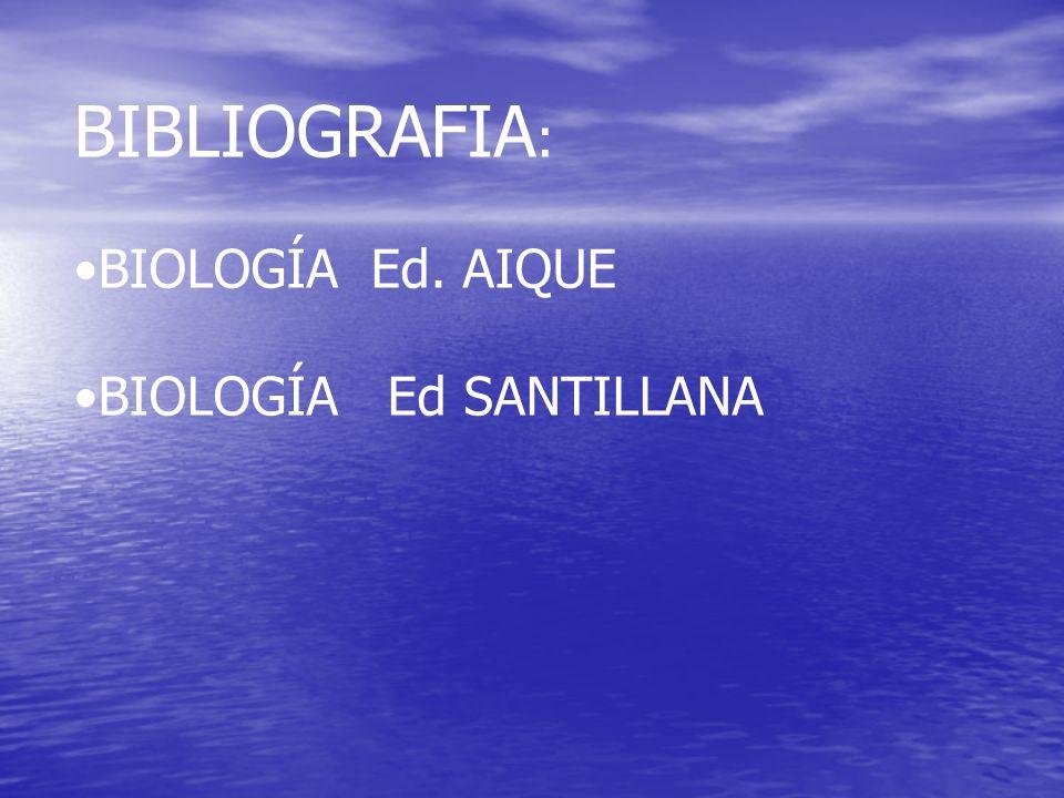 BIBLIOGRAFIA : BIOLOGÍA Ed. AIQUE BIOLOGÍA Ed SANTILLANA