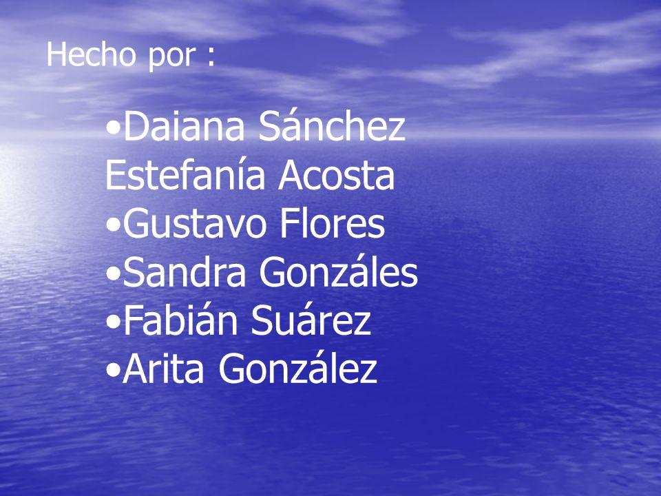 Hecho por : Daiana Sánchez Estefanía Acosta Gustavo Flores Sandra Gonzáles Fabián Suárez Arita González