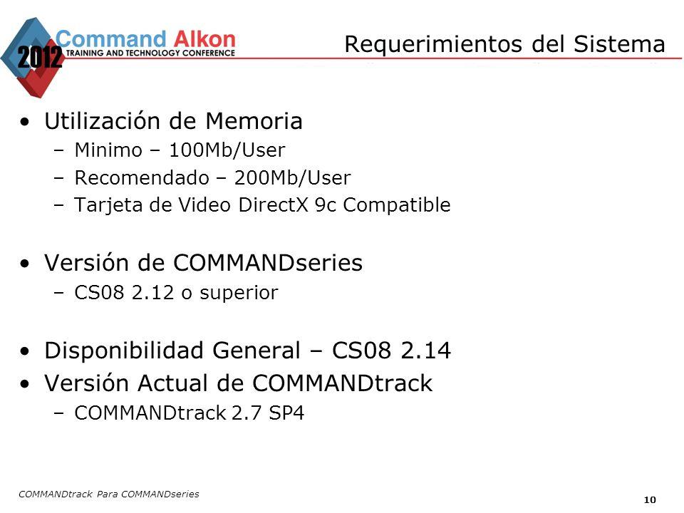 Requerimientos del Sistema Utilización de Memoria –Minimo – 100Mb/User –Recomendado – 200Mb/User –Tarjeta de Video DirectX 9c Compatible Versión de COMMANDseries –CS08 2.12 o superior Disponibilidad General – CS08 2.14 Versión Actual de COMMANDtrack –COMMANDtrack 2.7 SP4 COMMANDtrack Para COMMANDseries 10