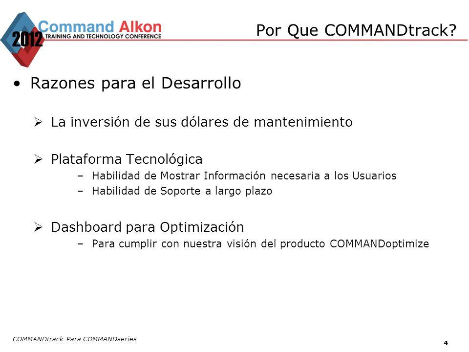 COMMANDtrack Para COMMANDseries 4 Razones para el Desarrollo La inversión de sus dólares de mantenimiento Plataforma Tecnológica –Habilidad de Mostrar