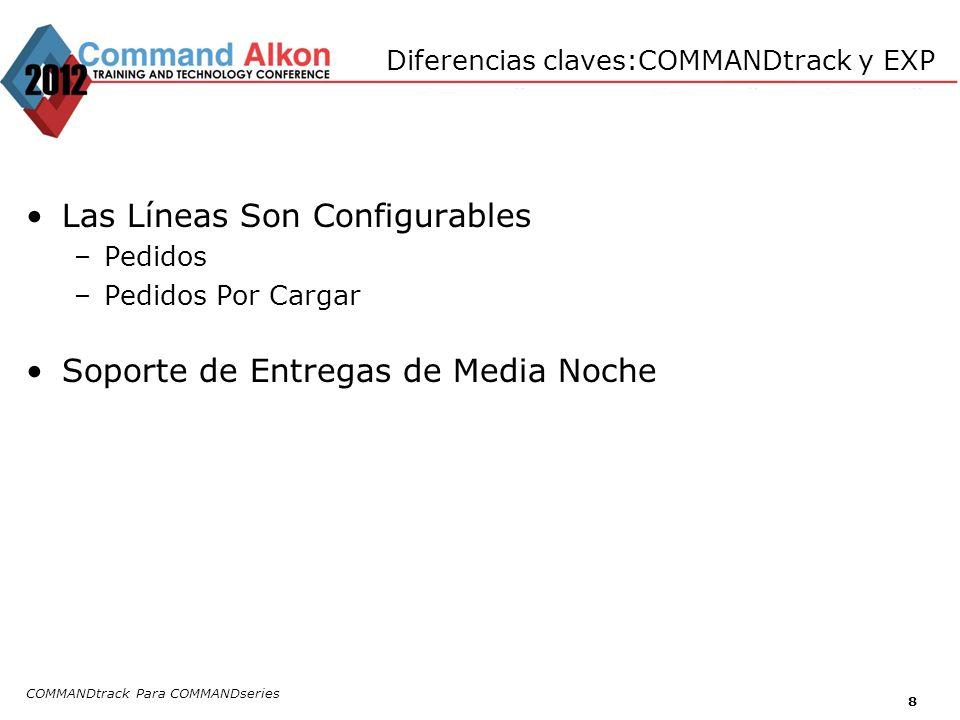 Diferencias claves:COMMANDtrack y EXP Las Líneas Son Configurables –Pedidos –Pedidos Por Cargar Soporte de Entregas de Media Noche COMMANDtrack Para C