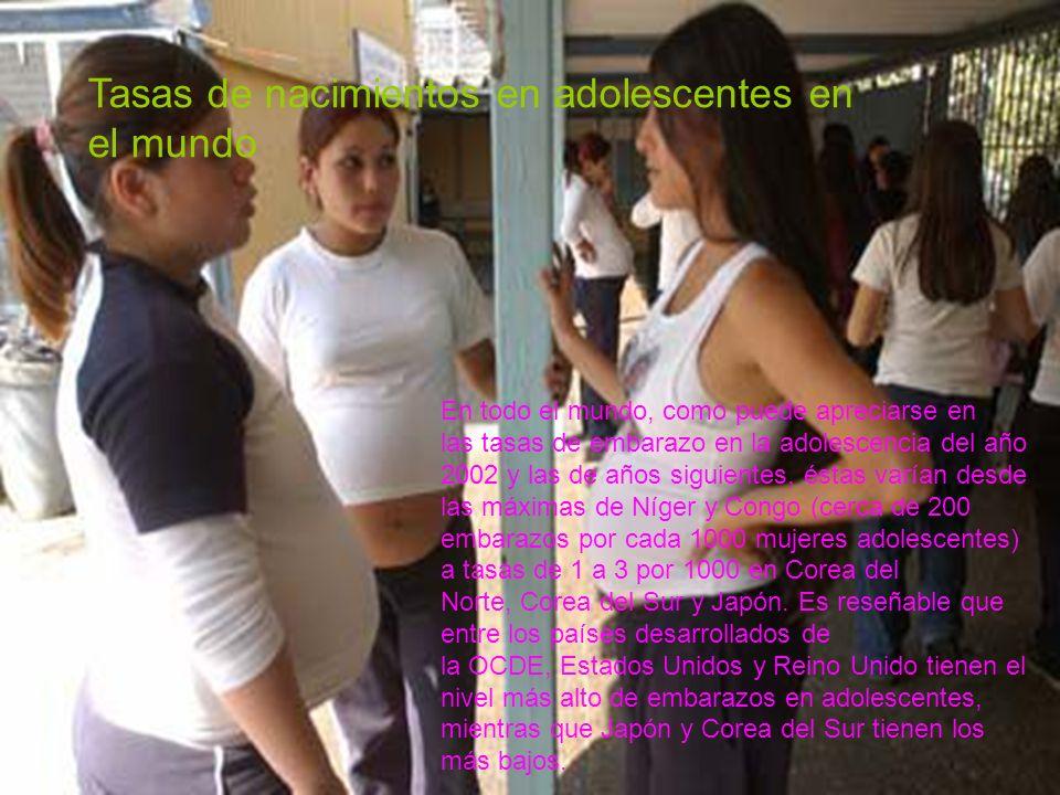 Tasas de nacimientos en adolescentes en el mundo En todo el mundo, como puede apreciarse en las tasas de embarazo en la adolescencia del año 2002 y la