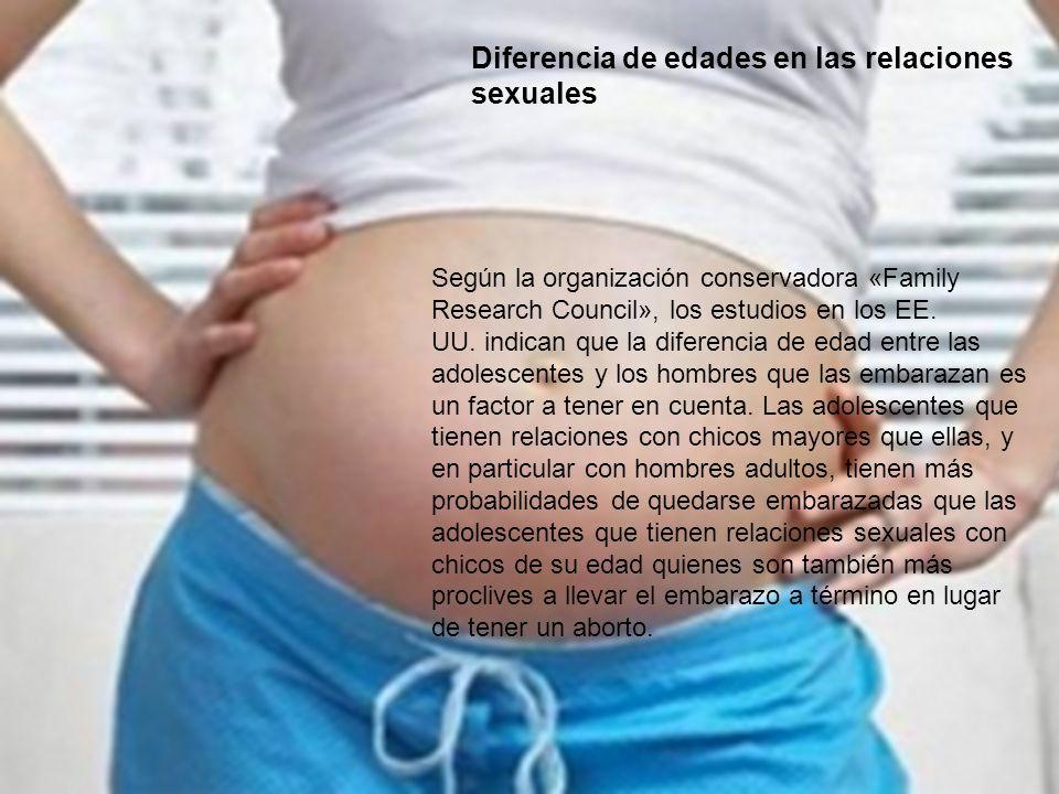 Diferencia de edades en las relaciones sexuales Según la organización conservadora «Family Research Council», los estudios en los EE. UU. indican que