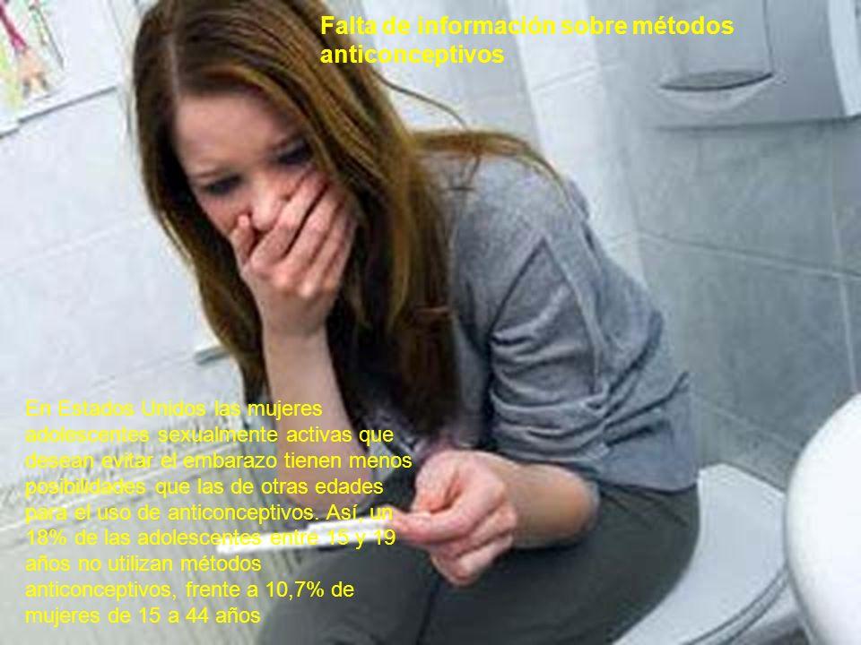 Falta de información sobre métodos anticonceptivos En Estados Unidos las mujeres adolescentes sexualmente activas que desean evitar el embarazo tienen
