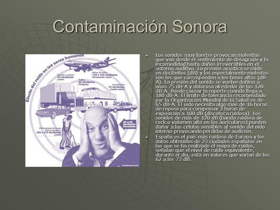 Contaminación Sonora Los sonidos muy fuertes provocan molestias que van desde el sentimiento de desagrado y la incomodidad hasta daños irreversibles e