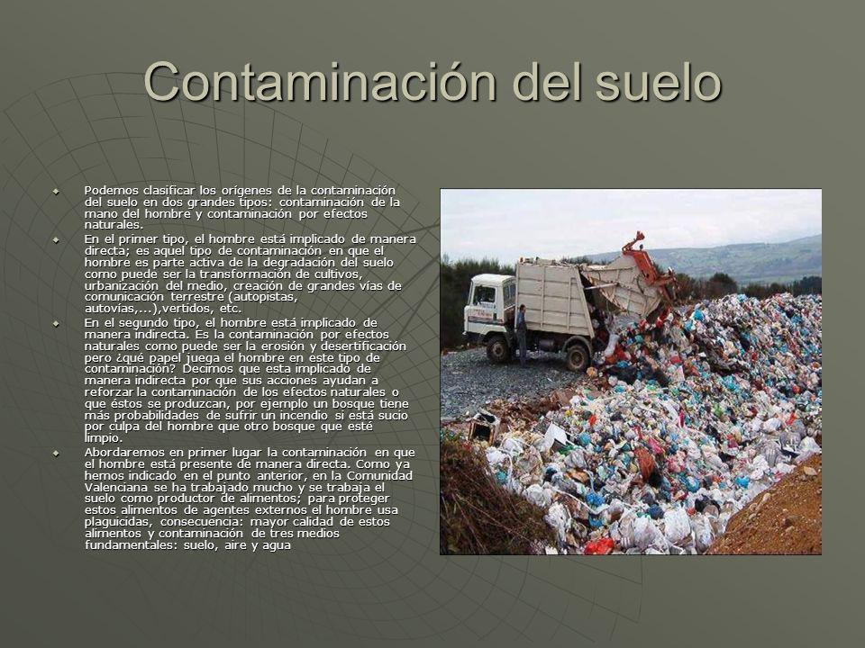Contaminación del suelo Podemos clasificar los orígenes de la contaminación del suelo en dos grandes tipos: contaminación de la mano del hombre y cont