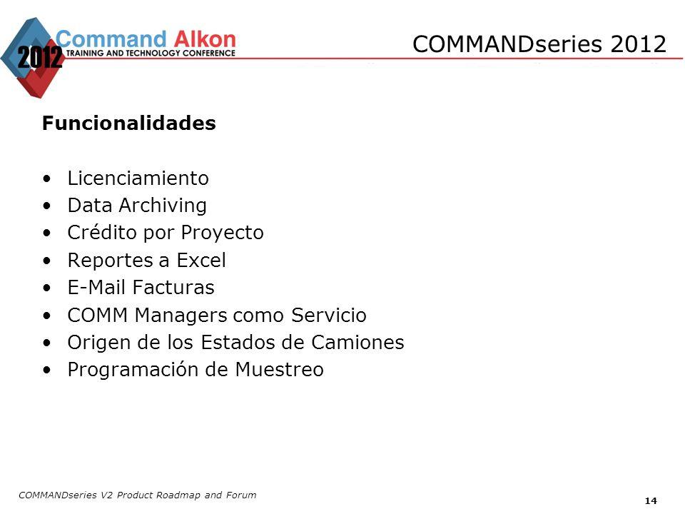 COMMANDseries V2 Product Roadmap and Forum 14 COMMANDseries 2012 Funcionalidades Licenciamiento Data Archiving Crédito por Proyecto Reportes a Excel E
