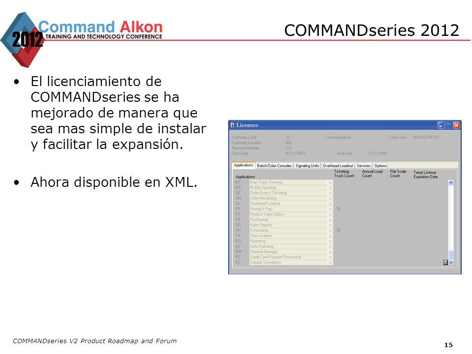 COMMANDseries V2 Product Roadmap and Forum 15 COMMANDseries 2012 El licenciamiento de COMMANDseries se ha mejorado de manera que sea mas simple de ins