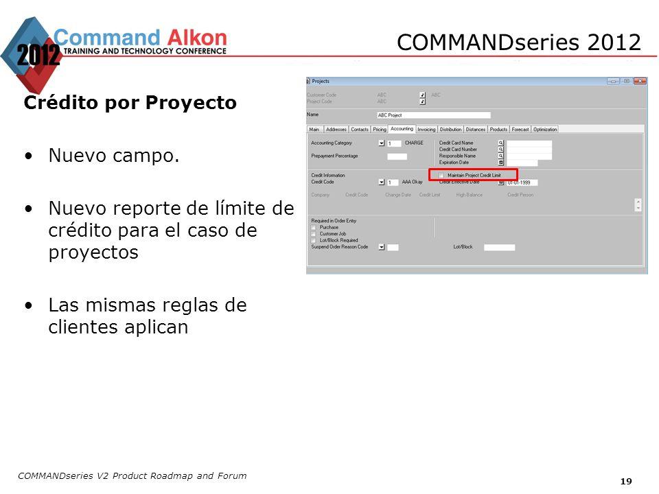 COMMANDseries V2 Product Roadmap and Forum 19 COMMANDseries 2012 Crédito por Proyecto Nuevo campo. Nuevo reporte de límite de crédito para el caso de