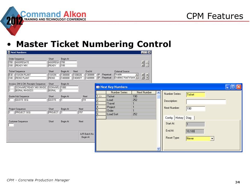 CPM - Concrete Production Manager 34 CPM Features Master Ticket Numbering Control