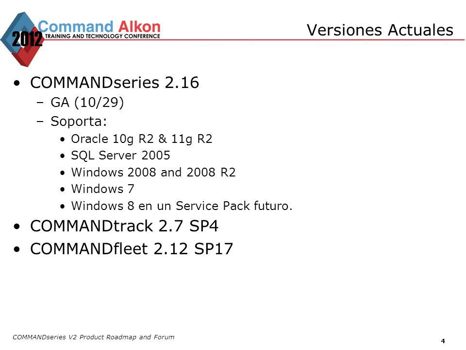4 COMMANDseries 2.16 –GA (10/29) –Soporta: Oracle 10g R2 & 11g R2 SQL Server 2005 Windows 2008 and 2008 R2 Windows 7 Windows 8 en un Service Pack futu