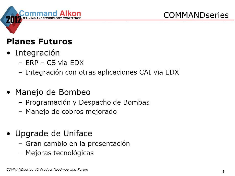 Planes Futuros Integración –ERP – CS via EDX –Integración con otras aplicaciones CAI via EDX Manejo de Bombeo –Programación y Despacho de Bombas –Mane