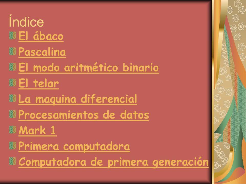 Índice El ábaco Pascalina El modo aritmético binario El telar La maquina diferencial Procesamientos de datos Mark 1 Primera computadora Computadora de