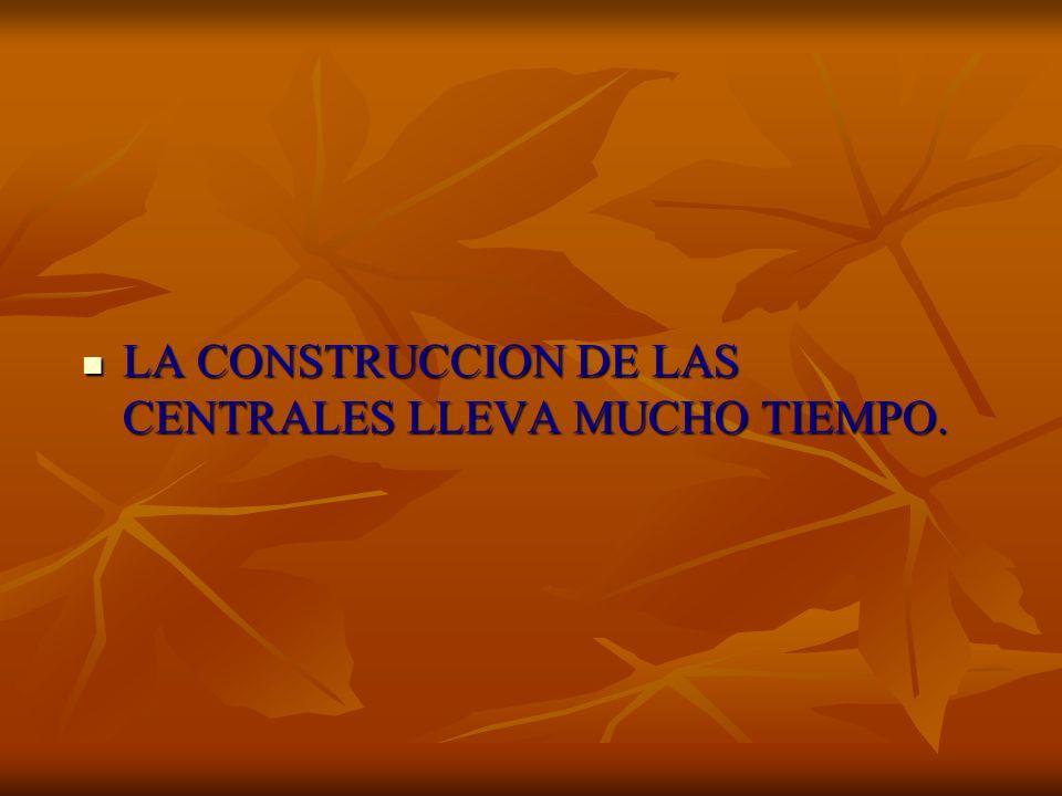 LA CONSTRUCCION DE LAS CENTRALES LLEVA MUCHO TIEMPO. LA CONSTRUCCION DE LAS CENTRALES LLEVA MUCHO TIEMPO.
