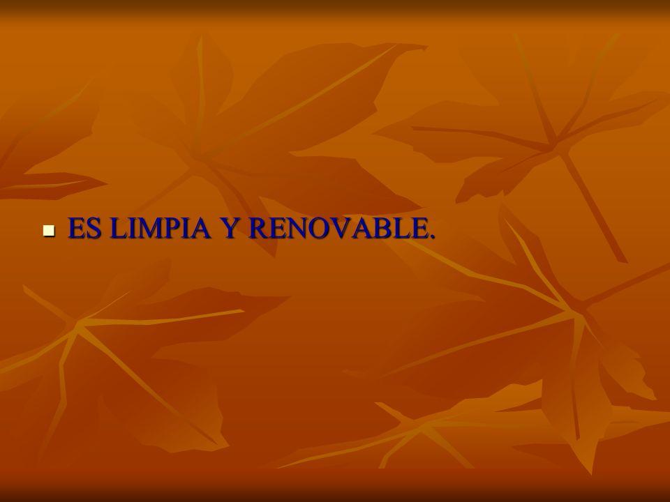 ES LIMPIA Y RENOVABLE. ES LIMPIA Y RENOVABLE.