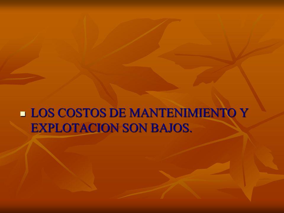 LOS COSTOS DE MANTENIMIENTO Y EXPLOTACION SON BAJOS. LOS COSTOS DE MANTENIMIENTO Y EXPLOTACION SON BAJOS.
