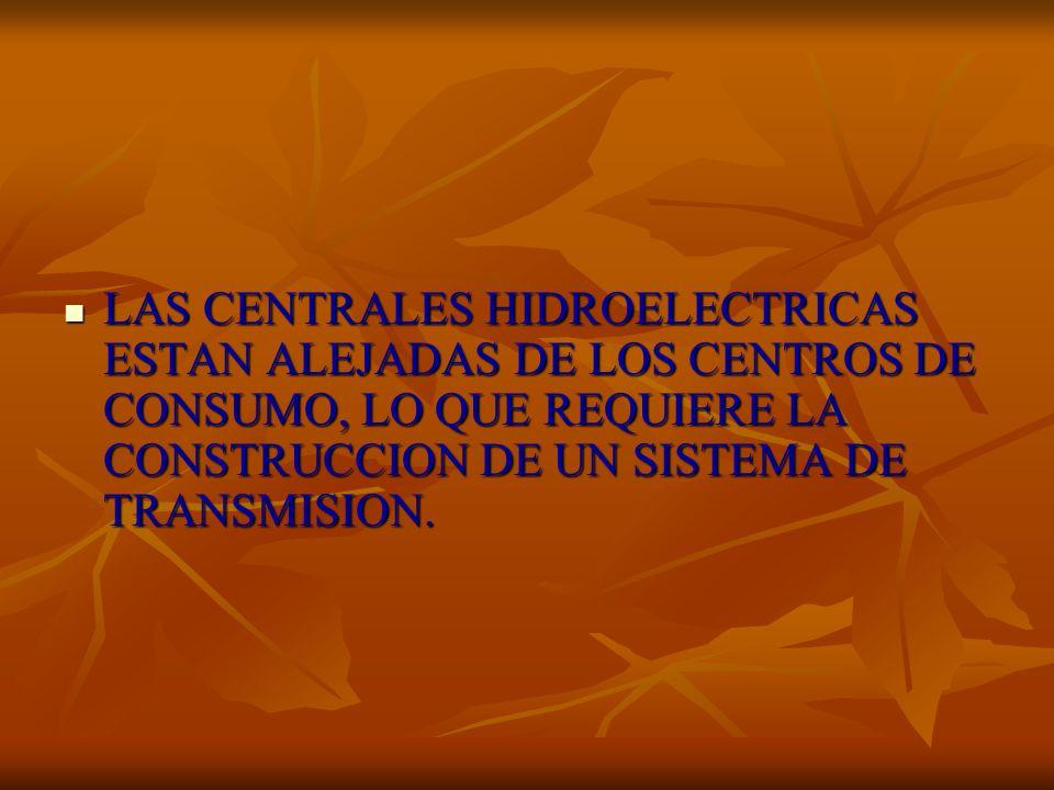 LAS CENTRALES HIDROELECTRICAS ESTAN ALEJADAS DE LOS CENTROS DE CONSUMO, LO QUE REQUIERE LA CONSTRUCCION DE UN SISTEMA DE TRANSMISION. LAS CENTRALES HI