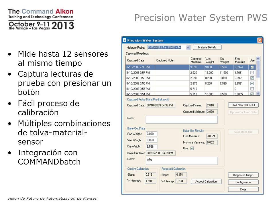 Precision Water System PWS Mide hasta 12 sensores al mismo tiempo Captura lecturas de prueba con presionar un botón Fácil proceso de calibración Múlti