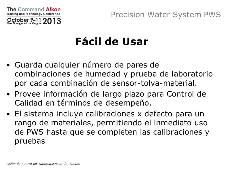 Precision Water System PWS Fácil de Usar Guarda cualquier número de pares de combinaciones de humedad y prueba de laboratorio por cada combinación de