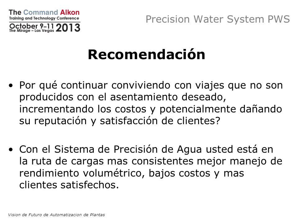 Precision Water System PWS Recomendación Por qué continuar conviviendo con viajes que no son producidos con el asentamiento deseado, incrementando los