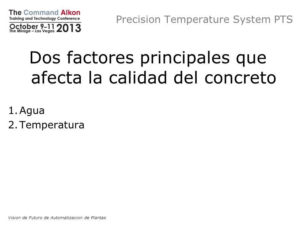 Precision Temperature System PTS Dos factores principales que afecta la calidad del concreto 1.Agua 2.Temperatura Vision de Futuro de Automatizacion d