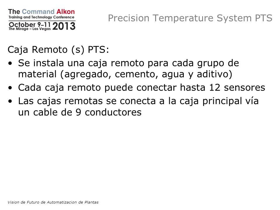 Precision Temperature System PTS Caja Remoto (s) PTS: Se instala una caja remoto para cada grupo de material (agregado, cemento, agua y aditivo) Cada