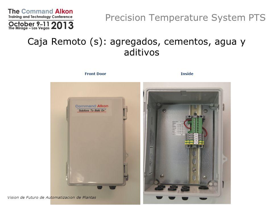 Precision Temperature System PTS Caja Remoto (s): agregados, cementos, agua y aditivos Vision de Futuro de Automatizacion de Plantas