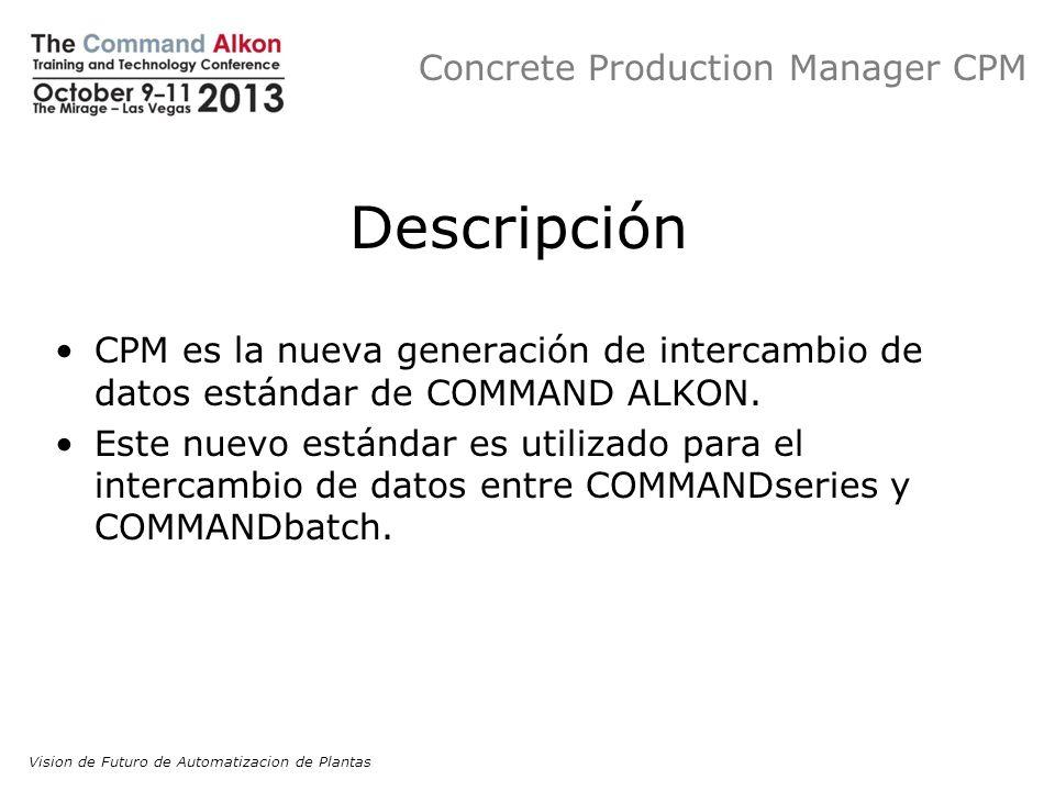 Concrete Production Manager CPM Descripción CPM es la nueva generación de intercambio de datos estándar de COMMAND ALKON. Este nuevo estándar es utili