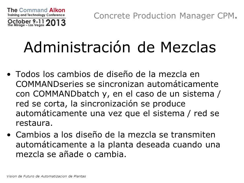 Concrete Production Manager CPM. Administración de Mezclas Todos los cambios de diseño de la mezcla en COMMANDseries se sincronizan automáticamente co