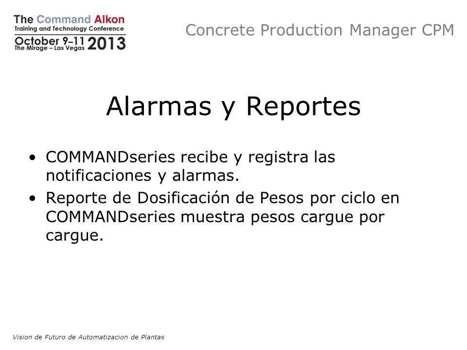 Concrete Production Manager CPM Alarmas y Reportes COMMANDseries recibe y registra las notificaciones y alarmas. Reporte de Dosificación de Pesos por